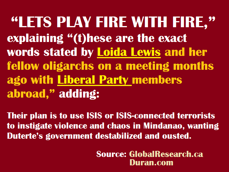 Global Research Pointed: USA, Loida Lewis and Liberal party behind the ISIS attack in the Philippines