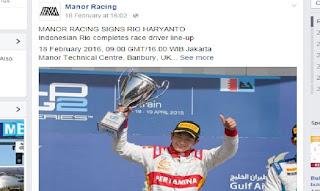 RIO HARYANTO Resmi Menjadi Pembalap F1 Di Tim Manor RACING