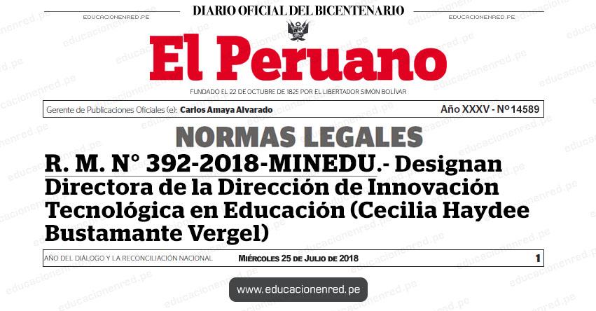 R. M. N° 392-2018-MINEDU - Designan Directora de la Dirección de Innovación Tecnológica en Educación (Cecilia Haydee Bustamante Vergel) www.minedu.gob.pe