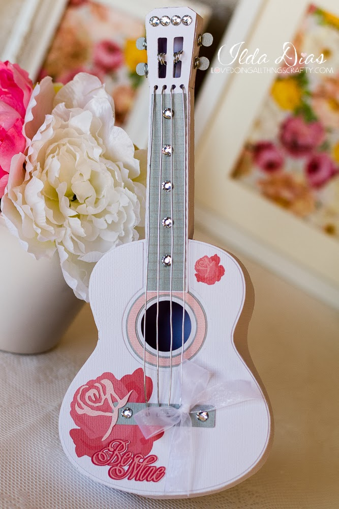 3D Paper Guitar Gift Box | SVGCuts Files
