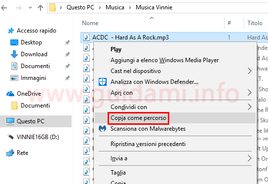Opzione Copia come percorso menu contestuale mouse Windows