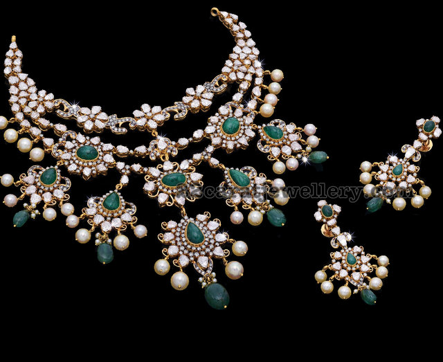 Uncut Diamond Emerald Set by Krishna Jewels