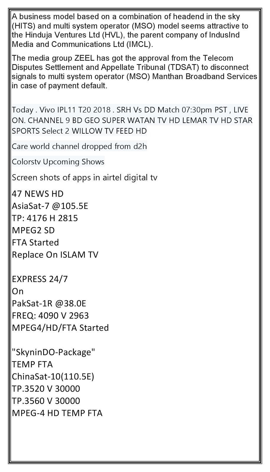 Satellite TV News: May 2018