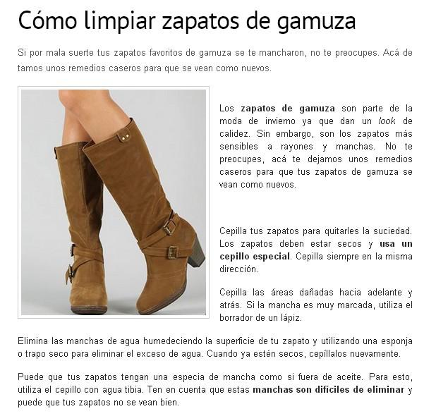 e4ad5321 Nos habla de como limpiar los zapatos de ante o antelina (ante sintético),  en el post, lo llaman gamuza (que así es como se conoce en algunos países  ...