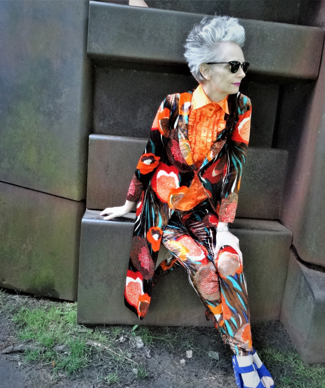 Mel Kobayashi, vintage '70s psychedelic pantsuit from Suzanne Carillo with platform sandals from Nordstrom