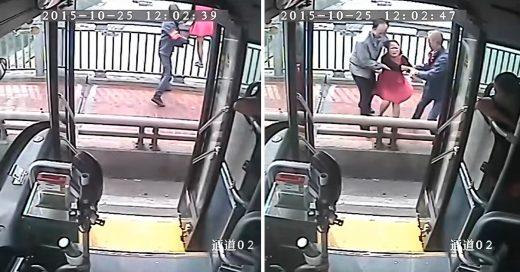 Conductor salva a mujer que quería lanzarse de un puente