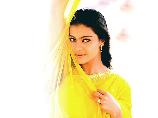 Kajol Devgan in Yellow saree looking so hot wallpapers