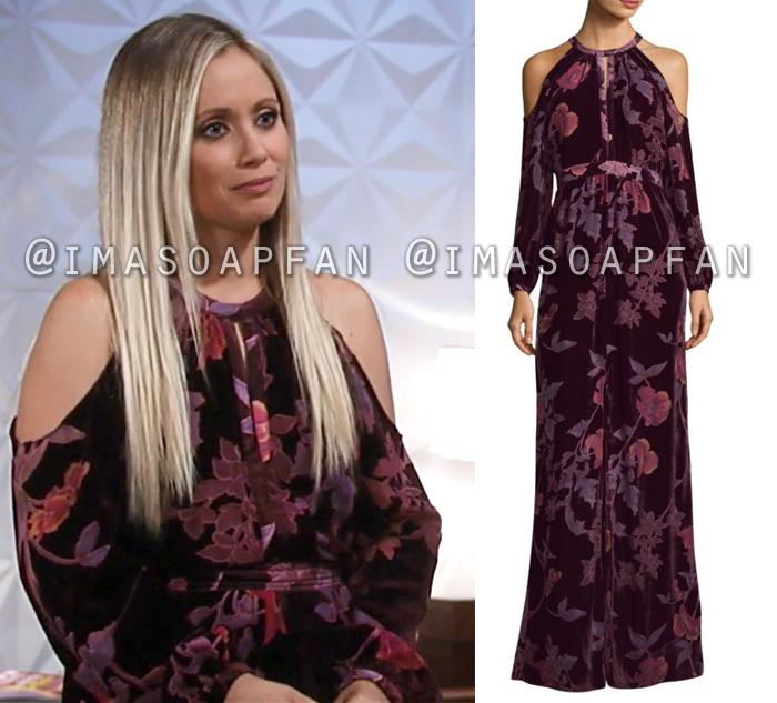 Lulu Spencer Falconeri, Emme Rylan, Purple Floral Print Gown, General Hospital, GH