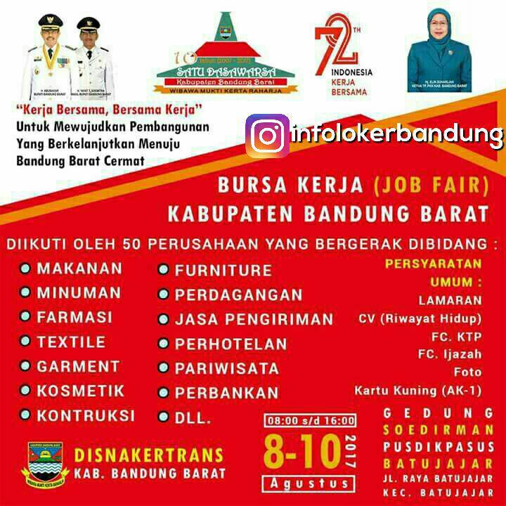 Bursa Kerja ( Job Fair ) Kabupaten Bandung Jawa Barat Agustus 2017