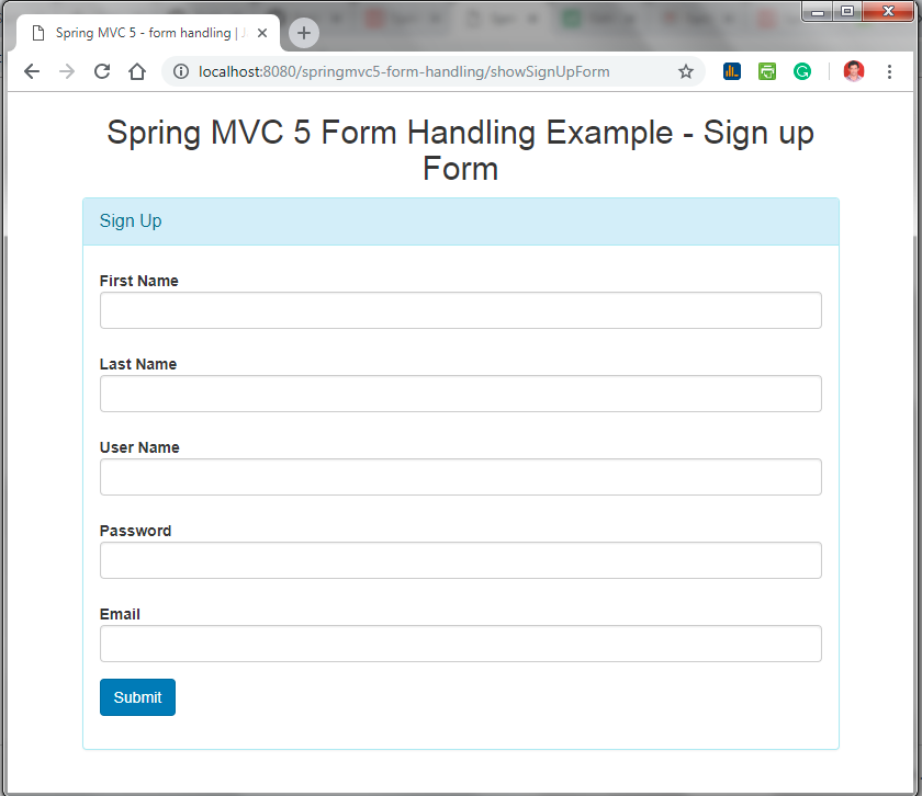 Spring MVC 5 Form Example