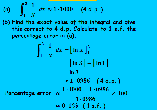 Simpson rule,Area of curve,definite integral,approximation value,percentage error,