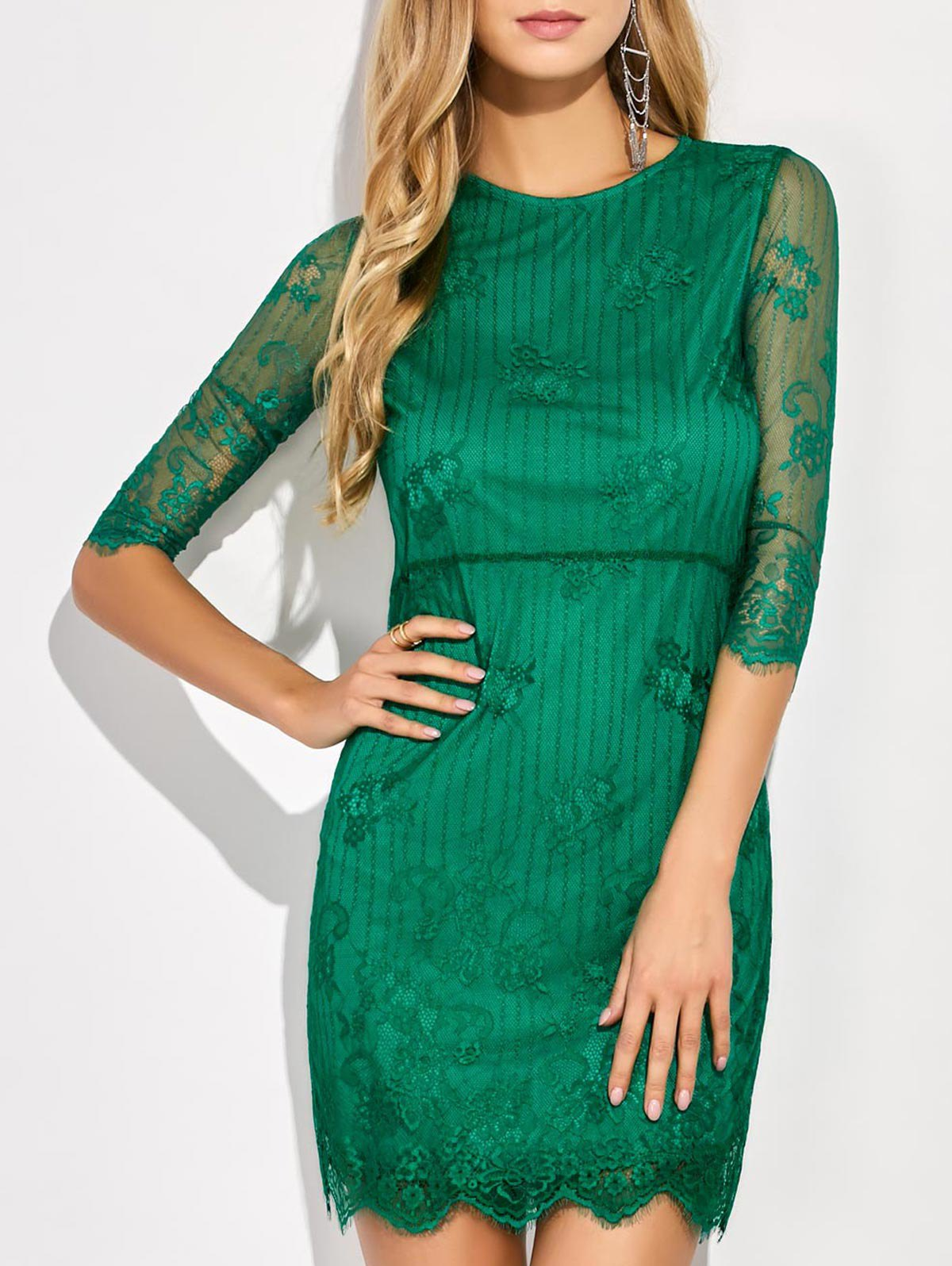 Scalloped Mini Floral Lace Dress - Green