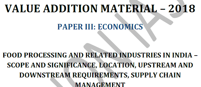Value Addition Material 2018 for Paper 3 of Economics - Download PDF