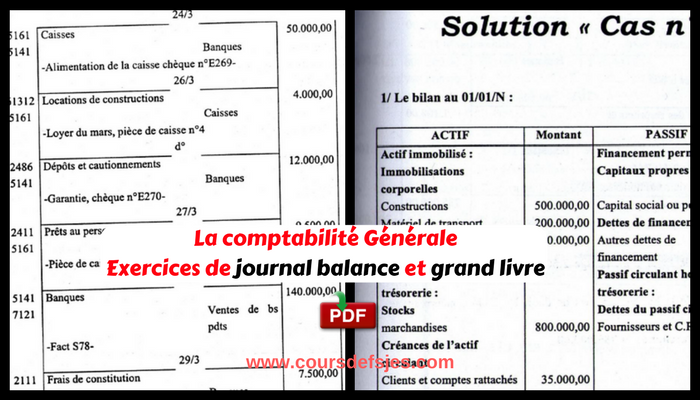 La Comptabilite Generale Exercices De Journal Balance Et
