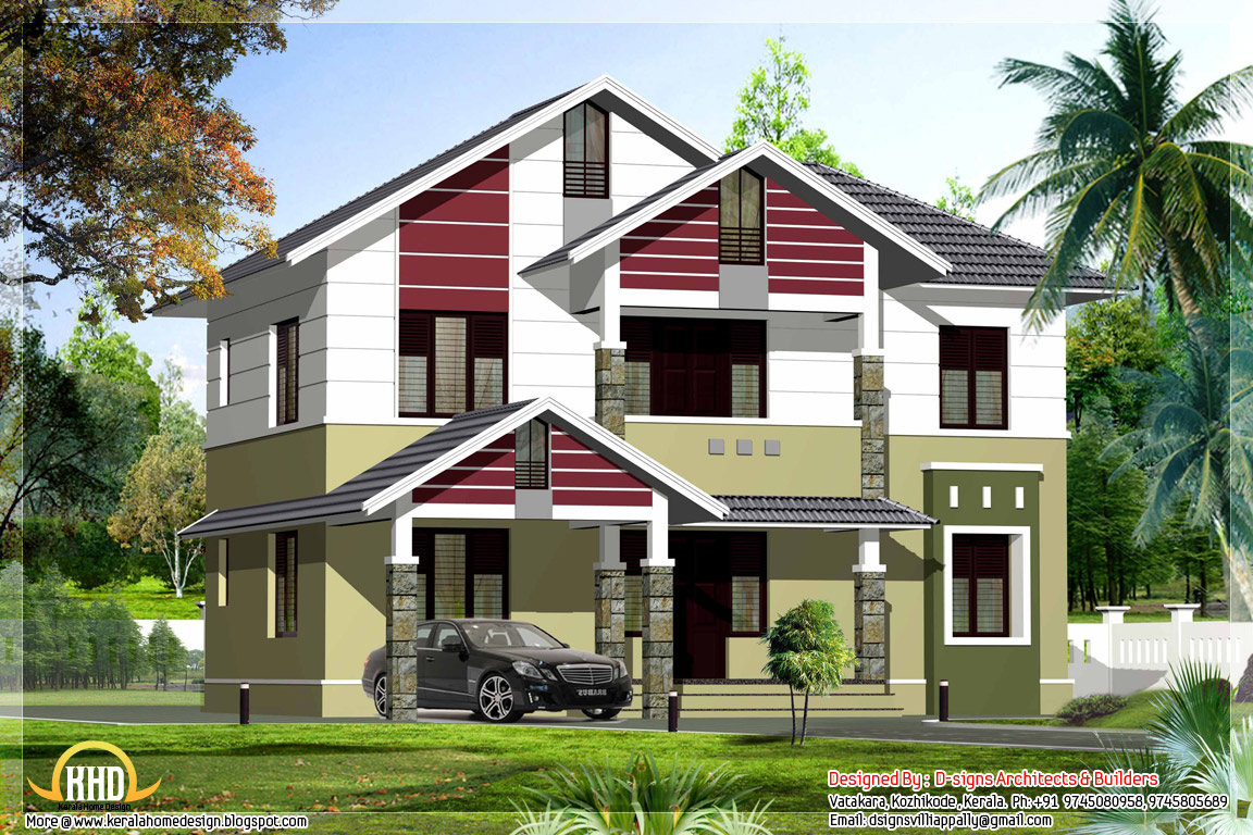 2200 sq ft simple stylish house kerala home design and for Stylish wallpaper for home