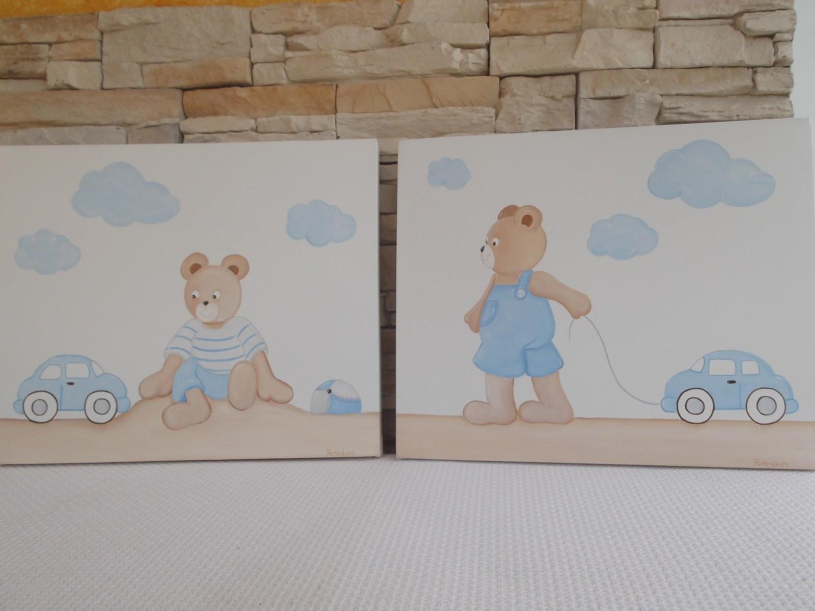 Decoraci n infantil pekerines cuadros beb s ositos for Cuadros habitacion bebe