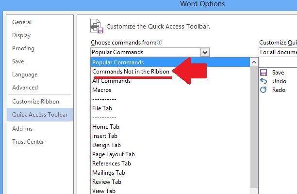 how to make a command in word