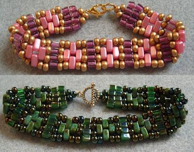 Miyuki cube and brick bead bracelet
