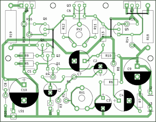 10W Stereo Audio Amplifier with Transistors component outline