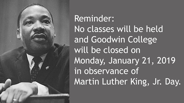No classes on January 21 in observance of Martin Luther King Jr Day
