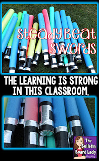 Pool noodles magically transform into light saber inspired steady beat swords in Mrs. King's Music Class.  This DIY classroom project is easy to do and keeps students engaged and learning.  What do you do with them?  Read on for ideas and video examples.