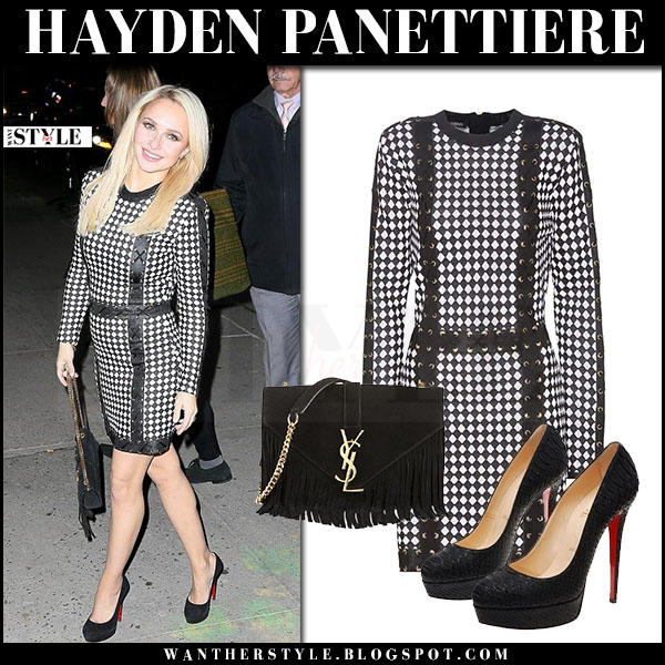 Hayden Panettiere in black checked mini dress balmain and black pumps christian louboutin bianca what she wore