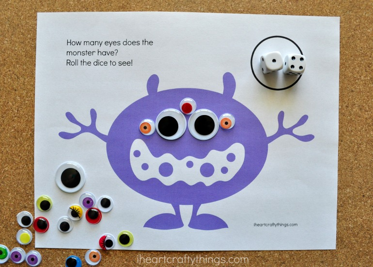 Monster Eyes Counting Game Preschool Printable   I Heart Crafty Things Monster Eyes Counting Game Preschool Printable