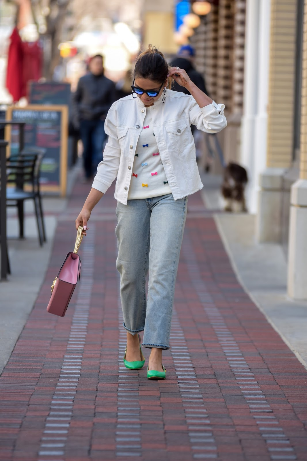 five denim styles to wear, spring ootd, white denim jacket, casual ootd, green talbots sandals, bee, dc fashion, bow sweater, myriad musings