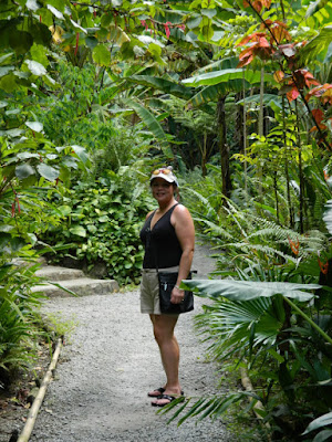 Diamond Botanical Gardens Linda on a path Soufriere St. Lucia by garden muses-not another Toronto gardening blog