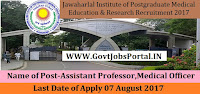 Jawaharlal Institute of Postgraduate Medical Education & Research Recruitment 2017– 21 General Duty Medical Officer, Assistant Professor