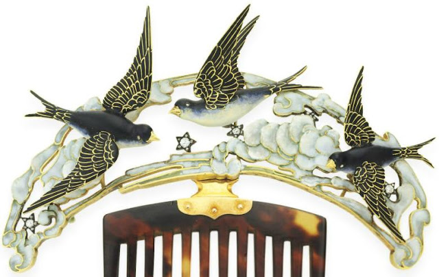 Enamel, tortoiseshell, diamond, bluebird, hair comb, Art Nouveau, birds, flying, clouds, stars, sky, hair ornament, Lucien Gaillard, rose-cut