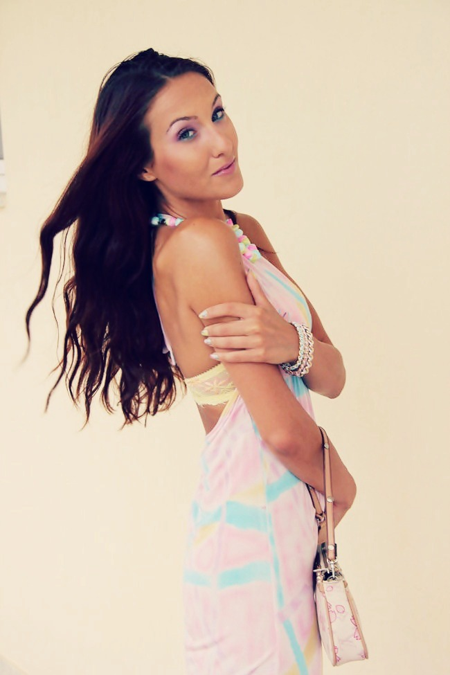 pastel yellow lilac pink blue open back mini dress