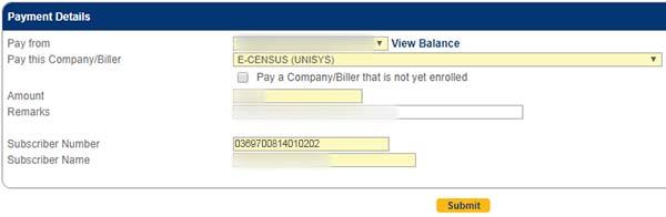 BDO payment details
