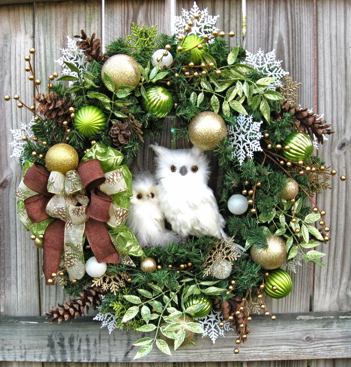 igw gallery winter owl christmas wreath lime green gold brown rustic. Black Bedroom Furniture Sets. Home Design Ideas