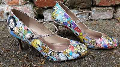 Shoes decorated with Star Wars comic book images