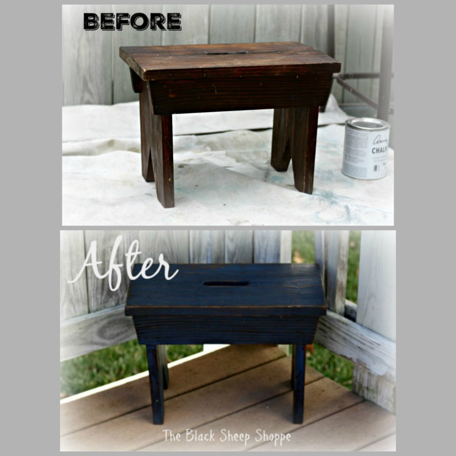 Rustic footstool before and after