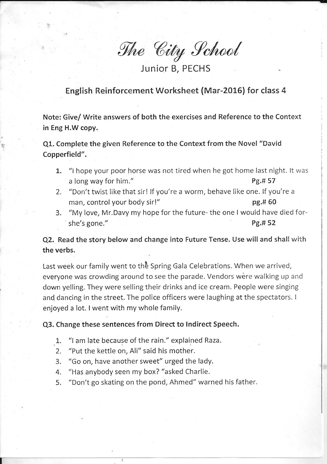 The City School: Worksheet for Class - 4 (Science, S.S.T, English ...