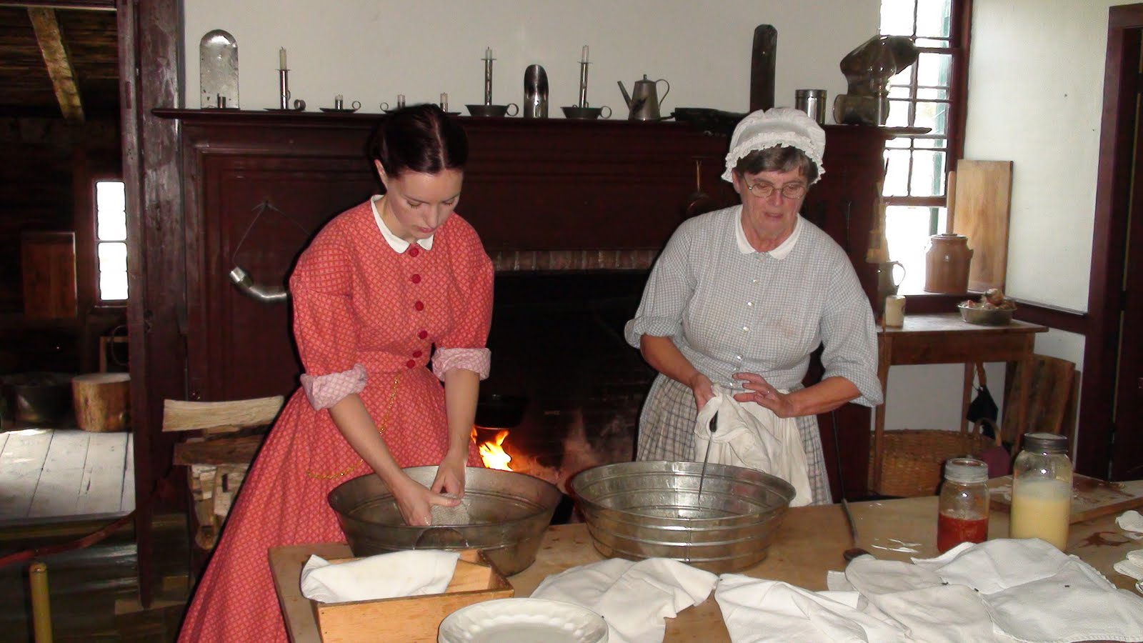 Women making bread at Upper Canada Village