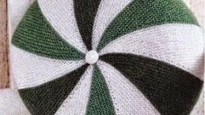 Almohadón circular tejido con dos agujas / palillos - paso a paso