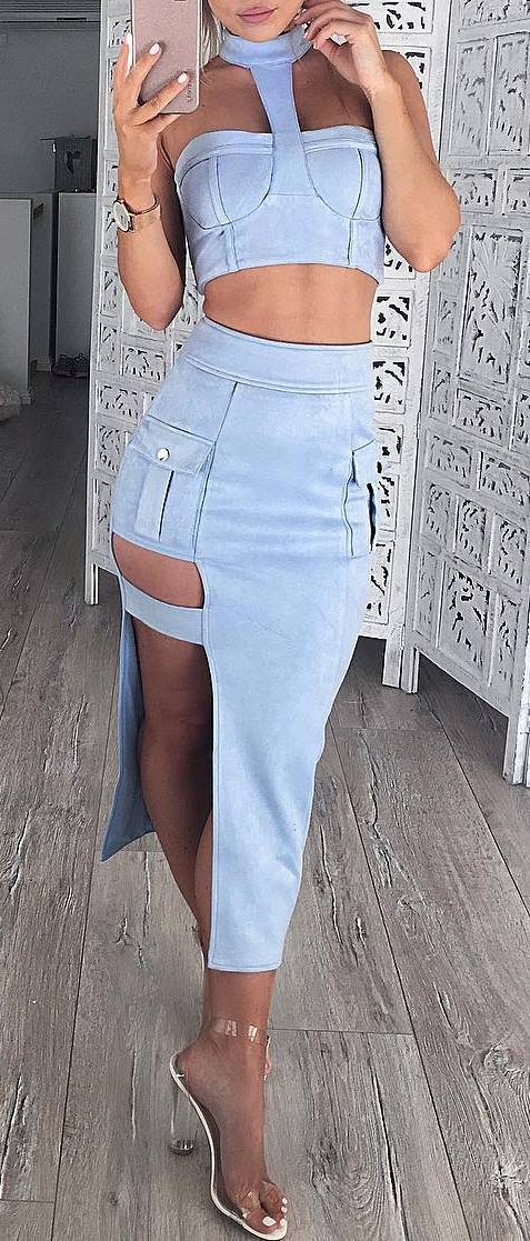 all denim everything: crop top + skirt + heels