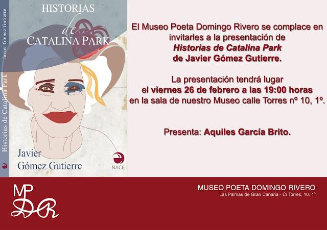 invitación al acto de presentación de Historias de Catalina Park en el Museo Poeta Domingo Rivero.