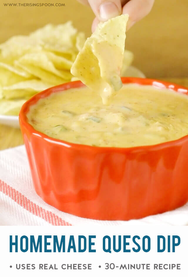 Homemade Queso Dip with Real Cheese (Easy 30 Minute Appetizer Recipe)