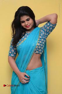 Telugu Actress Alekhya Stills in Green Saree at Swachh Hyderabad Cricket Press Meet  0046.JPG