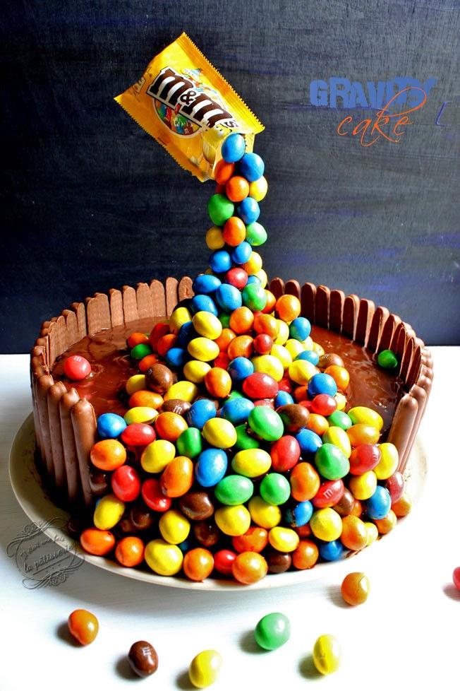 gravity cake m&ms