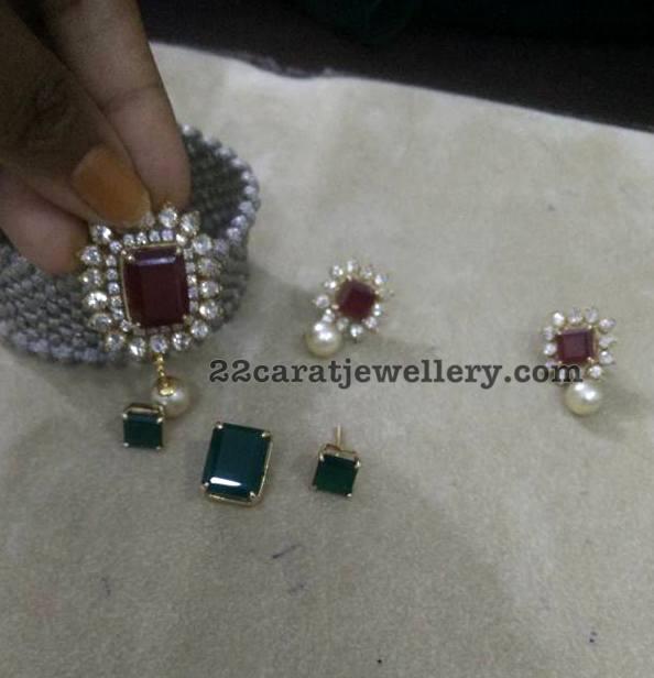 Changeable Stone Locket and Earrings - Jewellery Designs