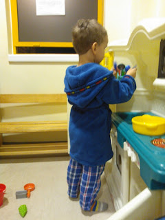 Big Boy playing with the A&E Toys