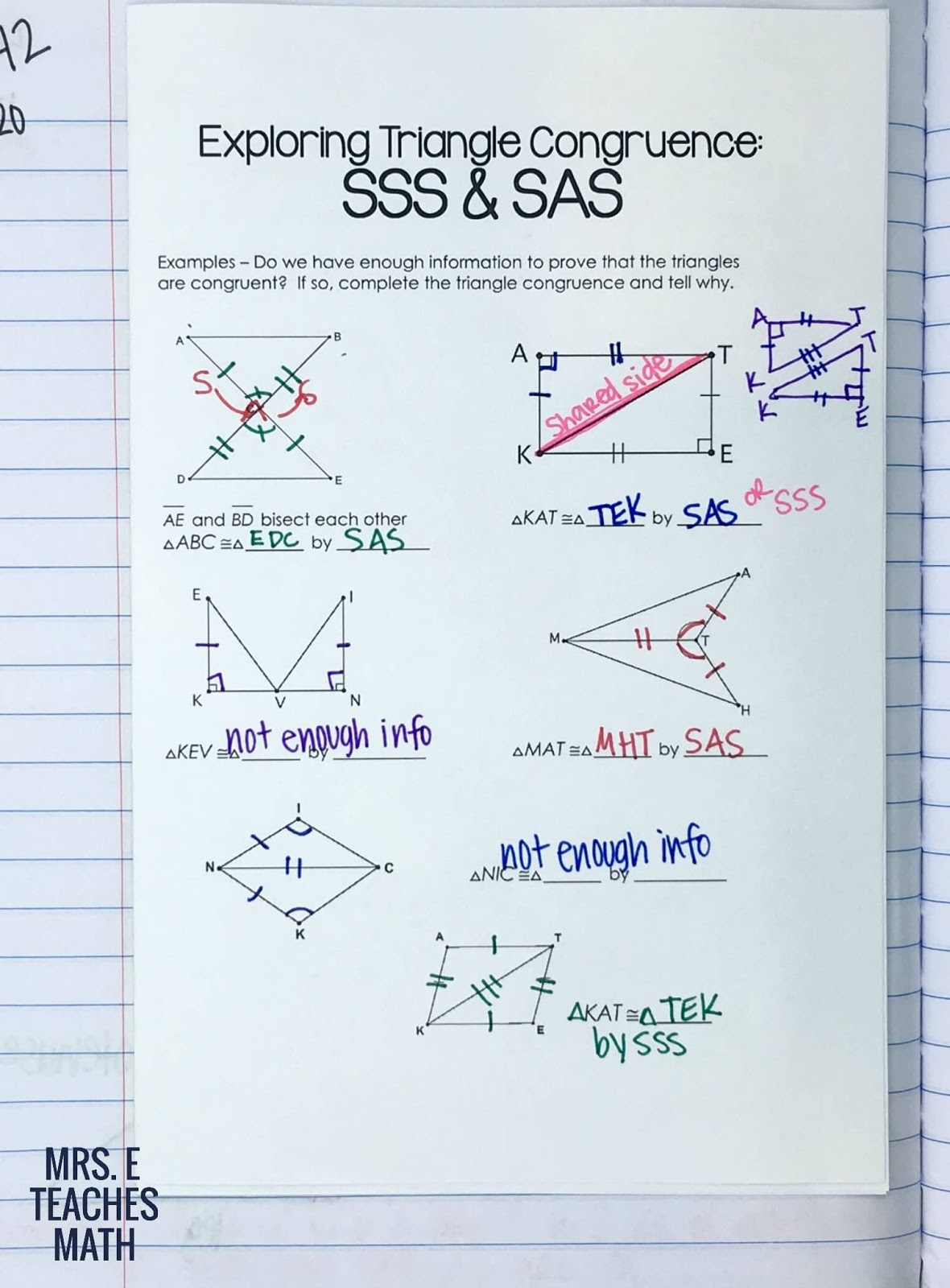 Congruent Triangles Inb Pages Mrs E Teaches Math