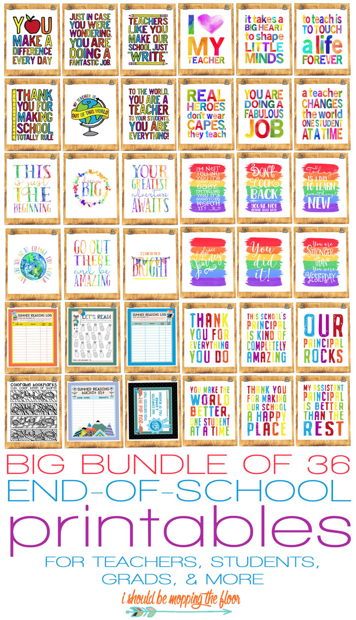 i should be mopping the floor 36 end of school year printables