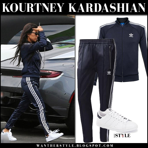 Kourtney Kardashian in navy blue Adidas Originals track suit casual street fashion august 15 2017