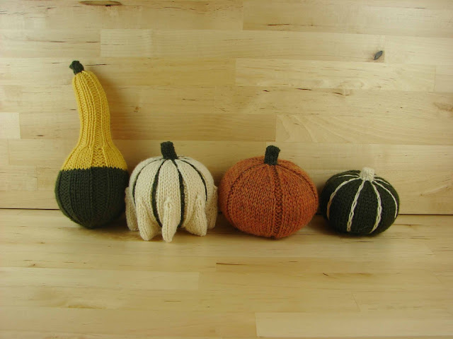 decorative, ornamental, gourd, pumpkin, knitted, orange, yellow, green, white